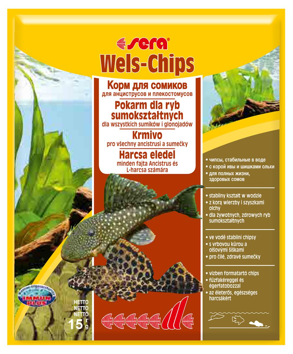 Корм для рыб Sera Wels Chips, 15 г0513Корм для рыб Sera Wels Chips - специализированный корм в виде чипсов для сомиков, содержащий кору ивы и шишки ольхи. Предназначен как для сомов, соскабливающих корм роговым наростом, так и для сомов со ртом в виде присоски. Высокое содержание балластных веществ поддерживает пищеварение и соответствует естественным особенностям питания рыб. Быстро тонущие чипсы сохраняют свою форму в течение 24 часов, не загрязняя воду. Это позволяет ночным сомам поедать корм медленно. Инструкция по применению: Кормить экономно один раз в день. Ночных животных желательно кормить вечером. Ингредиенты: рыбная мука, кукурузный крахмал, пшеничная мука, пшеничные зародыши, пивные дрожжи, спирулина, сухое молоко, рыбий жир (49% Омега жирных кислот), растительное сырье, цельный яичный порошок, кора ивы (0,5%), ольховые шишки (0,5%), крапива, люцерна, маннанолигосахариды (0,4%), петрушка, морские водоросли, паприка, шпинат, морковь, зеленые мидии,...