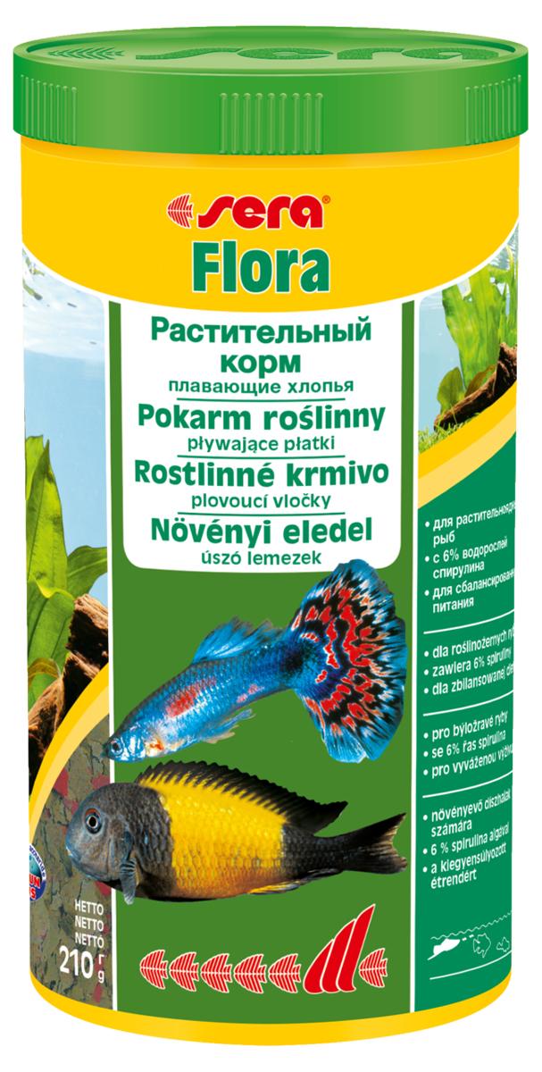 Корм для рыб Sera Flora, 1000 мл (210 г)0670Растительный корм – плавающие хлопья – для растительноядных рыб – с 6% водорослей спирулина – для сбалансированного питания. Состоит из хлопьев, произведенных путем бережной обработки сырья. Это идеальный корм для всех видов рыб, кормящихся у поверхности воды. Тщательно подобранные ингредиенты корма, богатые балластными веществами, такими как водоросль спирулина, способствуют здоровому пищеварению и жизнестойкости рыб. Хлопья долго плавают, сохраняя свою форму, поэтому они поедаются полностью и не загрязняют воду. Инструкция по применению: Кормить один-два раза в день, но только в том количестве, которое рыбы могут съесть в течение короткого периода времени. Ингредиенты: рыбная мука, пшеничная мука, пивные дрожжи, казеинат кальция, спирулина (6%), гаммарус, морские водоросли, цельный яичный порошок, крапива, люцерна, растительное сырье, маннанолигосахариды (0,4%), жир из печени рыбы (в т.ч. 34% Омега жирных кислот), петрушка, паприка, зеленые мидии, шпинат, морковь, водоросль...
