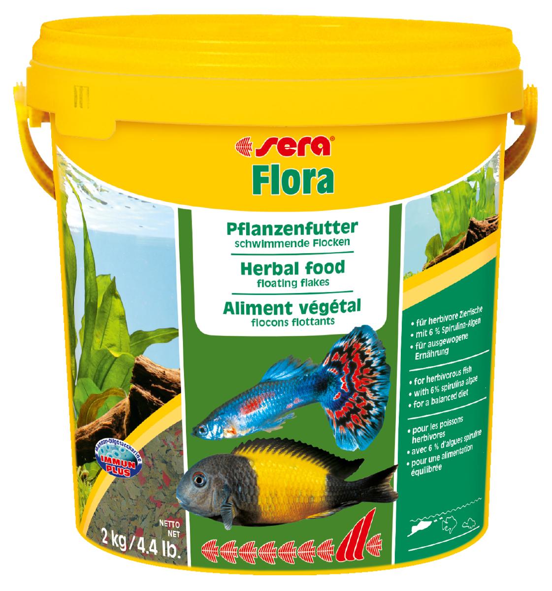 Корм для рыб Sera Flora, 10 л (2 кг)0690Растительный корм – плавающие хлопья – для растительноядных рыб – с 6% водорослей спирулина – для сбалансированного питания. Состоит из хлопьев, произведенных путем бережной обработки сырья. Это идеальный корм для всех видов рыб, кормящихся у поверхности воды. Тщательно подобранные ингредиенты корма, богатые балластными веществами, такими как водоросль спирулина, способствуют здоровому пищеварению и жизнестойкости рыб. Хлопья долго плавают, сохраняя свою форму, поэтому они поедаются полностью и не загрязняют воду. Инструкция по применению: Кормить один-два раза в день, но только в том количестве, которое рыбы могут съесть в течение короткого периода времени. Ингредиенты: рыбная мука, пшеничная мука, пивные дрожжи, казеинат кальция, спирулина (6%), гаммарус, морские водоросли, цельный яичный порошок, крапива, люцерна, растительное сырье, маннанолигосахариды (0,4%), жир из печени рыбы (в т.ч. 34% Омега жирных кислот), петрушка, паприка, зеленые мидии, шпинат, морковь, водоросль...