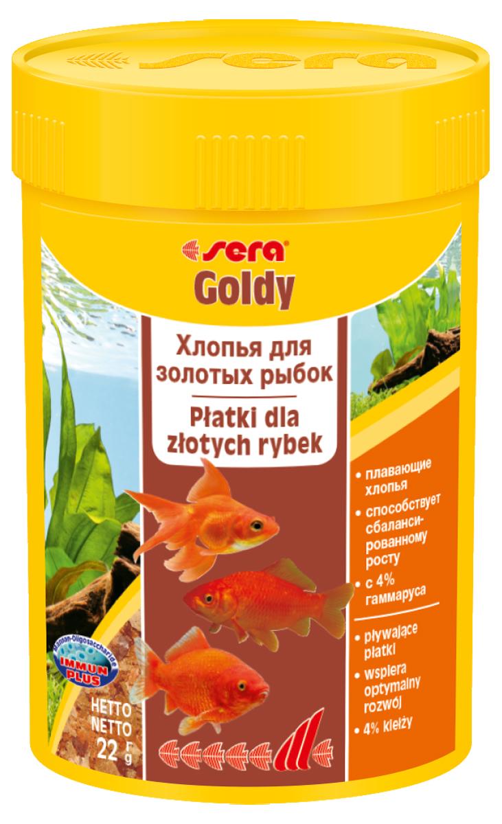 Корм для рыб Sera Goldy, 100 мл (22 г)0840Корм для рыб Sera Goldy - основной корм в хлопьях для каждодневного кормления всех золотых рыбок в аквариумах и садовых прудах. Золотым рыбкам требуется меньше белков и больше легко перевариваемых углеводов, чем тропическим рыбкам. Корм sera goldy содержит спирулину и муку из пророщенной пшеницы, благодаря чему идеально подходит для кормления холодноводных рыб в аквариумах и прудах. Кормление рыб осенью укрепляет рыб перед спячкой (при зимовке в водоеме). Благодаря тщательно подобранным ингредиентам растительного и животного происхождения, корм является привлекательным для рыб, легко усваивается, способствует их сбалансированному росту и активности. Инструкция по применению: Кормить круглогодично один-два раза в день, но только в том количестве, которое рыбы могут съесть в течение короткого периода времени. Молодые рыбки нуждаются в более частом кормлении (при необходимости можно измельчить хлопья для более полноценного кормления)....