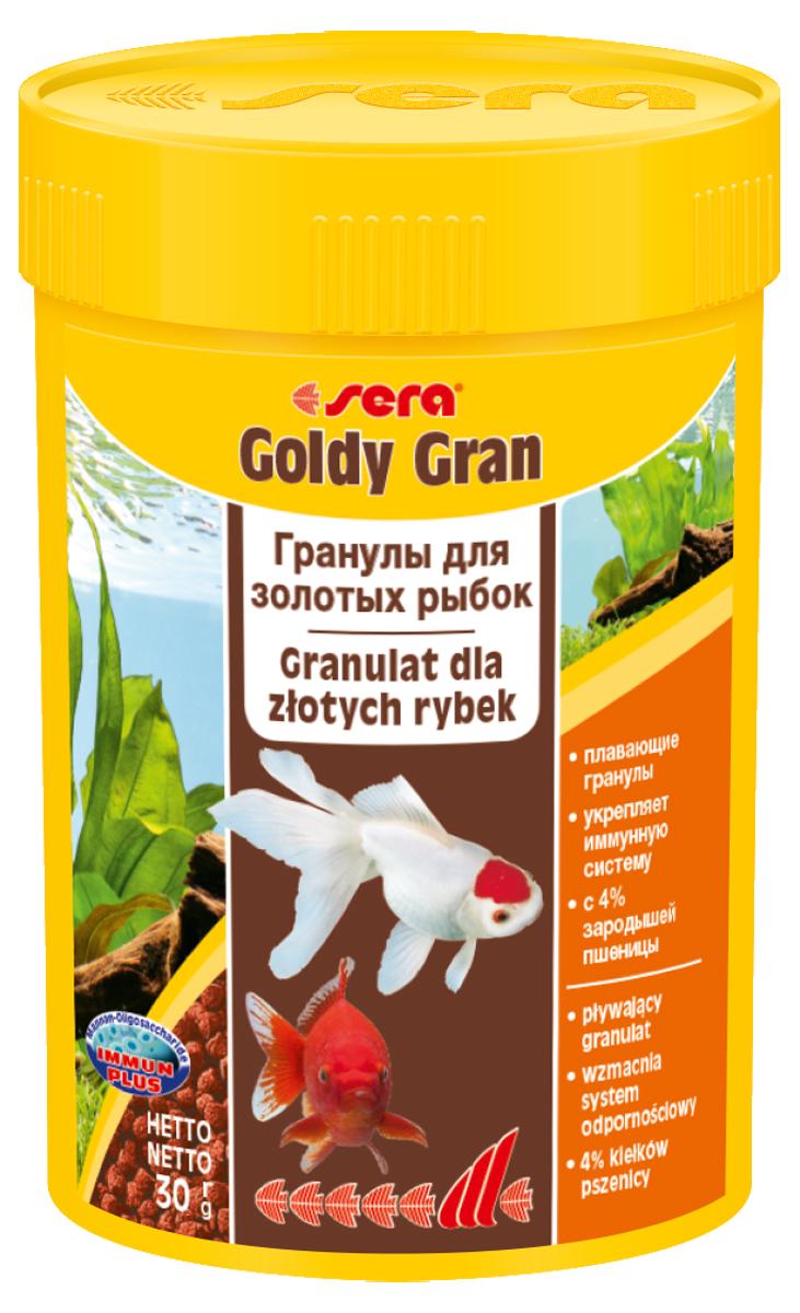 Корм для рыб Sera Goldy Gran, 100 мл (30 г)0861Комплексный корм для холодноводных рыб (аквариумных и прудовых) - идеальный основной корм для золотых рыбок. Плавающие гранулы корма, благодаря их высококачественным ингредиентам, обеспечивают всеми необходимыми питательными веществами даже самые привередливые виды рыб. Входящие в состав корма зародыши пшеницы гарантируют высокую усваиваемость корма, в том числе при низких температурах. Рыбы, таким образом, растут и остаются здоровыми без перекармливания. Инструкция по применению: Кормите небольшими порциями один-два раза в день, в течение всего года. Дозируйте такое количество корма, которое рыбы могут съесть в течение короткого периода времени. Ингредиенты: рыбная мука, кукурузный крахмал, пшеничная мука, пшеничные зародыши (4%), пшеничная клейковина, рыбий жир, пивные дрожжи, маннанолигосахариды (0,4%), криль, зеленые мидии, чеснок. Аналитический состав: Протеин 33,0%, Жиры 7,2%, Клетчатка 4,8%, Влажность 5,4%, Зольные вещества 5,8%. Содержание добавок: Витамины и провитамины: Вит....