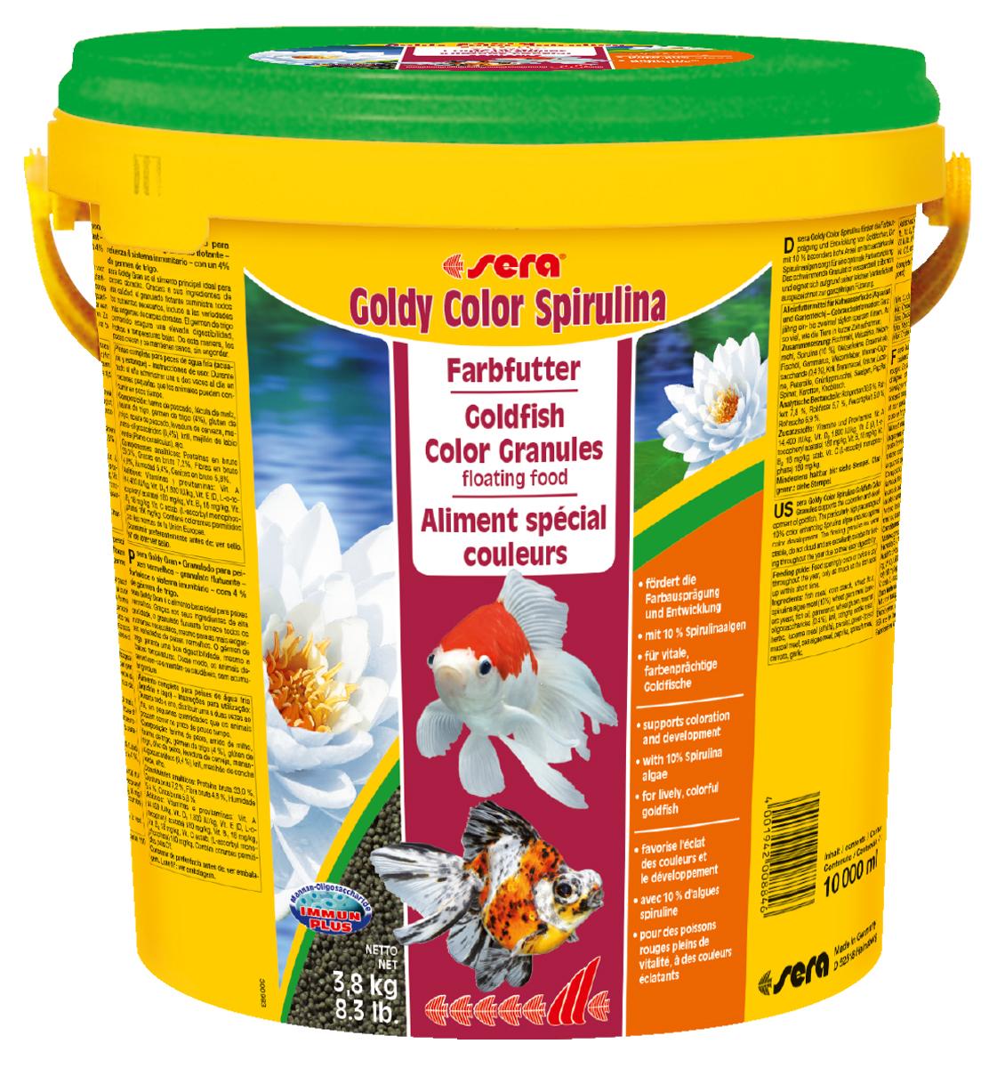 Корм для рыб Sera Goldy Color Spirulina, 10 л (3,8 кг)0884Комплексный корм для холодноводных рыб (аквариумных и прудовых) - способствует яркости окраски и развитию золотых рыбок. Особенно высокое содержание водорослей спирулина (10%) гарантирует оптимальное развитие и усиление яркости окраски рыб. Плавающие гранулы корма долго сохраняют свою форму, не вызывают помутнения воды, легко усваиваются и отлично подходят для кормления рыбы в течение всего года. Инструкция по применению: Кормите небольшими порциями один-два раза в день, в течение всего года. Дозируйте такое количество корма, которое рыбы могут съесть в течение короткого периода времени. Ингредиенты: рыбная мука, кукурузный крахмал, пшеничная мука, спирулина (10%), пшеничные зародыши, пивные дрожжи, рыбий жир, гаммарус, пшеничная клейковина, маннанолигосахариды (0,4%), криль, крапива, растительное сырье, люцерна, петрушка, зеленые мидии, морские водоросли, паприка, шпинат, морковь, чеснок. Аналитический состав: Протеин 38,9%, Жиры 7,8%, Клетчатка 5,7%, Влажность 5,0%, Зольные вещества...