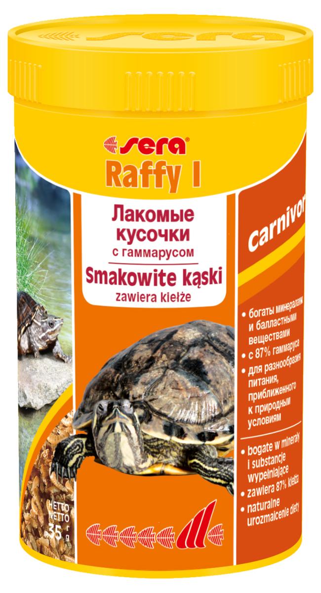 Корм для рептилий Sera Raffy I, 250 мл (35 г)1750Корм-лакомство, состоящее из натурального гаммаруса, маленьких рыбок и криля. Лакомство, богатое минералами, микроэлементами и балластными веществами – для небольших плотоядных рептилий, а также амфибий. Изготовлен из кормовых организмов, высушенных целиком Инструкция по применению: Кормить экономно, несколько раз в неделю, между основными кормлениями. Ингредиенты: гаммарус (87%), рыба, криль. Аналитический состав: Протеин 52,5%, Жиры 7,0%, Клетчатка 6,9%, Влажность 8,4%, Зольные вещества 17,6%, Кальций 5,0%, Фосфор 1,2%.