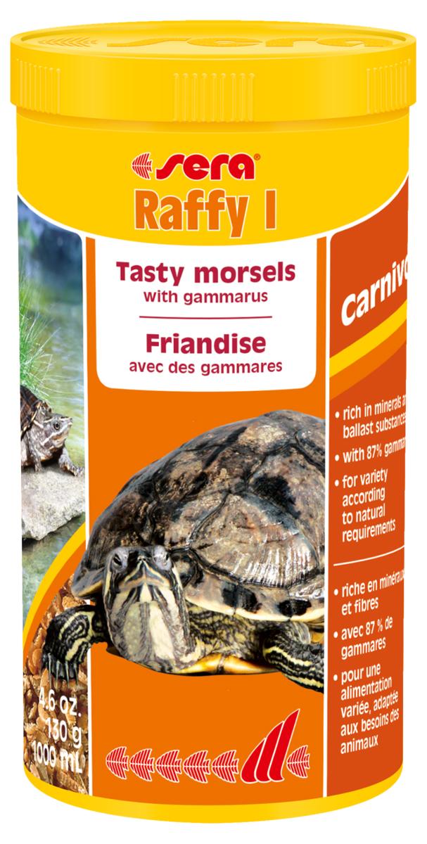 Корм для рептилий Sera Raffy I, 1 л (130 г)1770Корм Sera Raffy I - это сбалансированный корм для плотоядных рептилий (водных черепах, ящериц), приготовленный из натурального живого корма методом лиофильной сушки, то есть изготовлен из кормовых организмов, высушенных целиком. Корм включает смесь мелких ракообразных, креветок, моллюсков, личинок, насекомых и муравьиных яиц. Подходит в качестве дополнения к рациону. Лакомство богато минералами, микроэлементами и балластными веществами. Инструкция по применению: Кормить экономно, несколько раз в неделю, между основными кормлениями. Ингредиенты: мелкие рачки, мелкие моллюски, личинки мух, яйца муравьев. Состав: протеин 48,7%, жиры 7,5%, клетчатка 5,3%, зольные вещества 17,1%, кальций 3,9%. Товар сертифицирован.