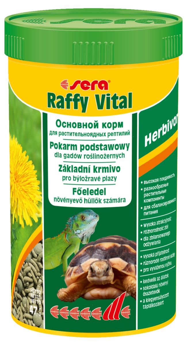 Корм для рептилий Sera Raffy Vital, 250 мл (47 г)1832Смешанный корм для сухопутных черепах и других растительноядных рептилий. Вкусная и богатая балластным веществом смесь из кормовых палочек и травяных таблеток оптимально удовлетворяет потребностям животных. Тщательно сбалансированное содержание витаминов и минералов укрепляет устойчивость к болезням и способствует здоровому росту костей и панциря. Инструкция по применению: Кормить экономно, ежедневно. Корм может подаваться в промежутках между кормлениями в сухом виде или увлажненный водой, а также его можно смешивать со свежим кормом (например, салат ромэн, одуванчик, крапива). Ингредиенты: кукурузный крахмал, пшеничная мука, растительное сырье, люцерна, рыбная мука, пшеничная клейковина, морские водоросли, крапива, пивные дрожжи, морковь, петрушка, спирулина, паприка, цельный яичный порошок, гаммарус, рыбий жир, сахар, шпинат, зеленые мидии, чеснок. Аналитический состав: Протеин 18,1%, Жиры 3,4%, Клетчатка 9,3%, Влажность 4,5%, Зольные вещества 8,0%, Кальций 1,5%, Фосфор 0,6%....