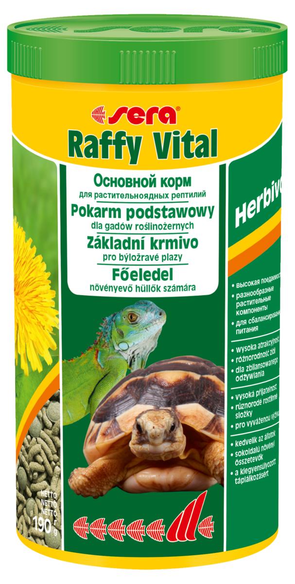 Корм для рептилий Sera Raffy Vital, 1000 мл (190 г)1834Смешанный корм для сухопутных черепах и других растительноядных рептилий. Вкусная и богатая балластным веществом смесь из кормовых палочек и травяных таблеток оптимально удовлетворяет потребностям животных. Тщательно сбалансированное содержание витаминов и минералов укрепляет устойчивость к болезням и способствует здоровому росту костей и панциря. Инструкция по применению: Кормить экономно, ежедневно. Корм может подаваться в промежутках между кормлениями в сухом виде или увлажненный водой, а также его можно смешивать со свежим кормом (например, салат ромэн, одуванчик, крапива). Ингредиенты: кукурузный крахмал, пшеничная мука, растительное сырье, люцерна, рыбная мука, пшеничная клейковина, морские водоросли, крапива, пивные дрожжи, морковь, петрушка, спирулина, паприка, цельный яичный порошок, гаммарус, рыбий жир, сахар, шпинат, зеленые мидии, чеснок. Аналитический состав: Протеин 18,1%, Жиры 3,4%, Клетчатка 9,3%, Влажность 4,5%, Зольные вещества 8,0%, Кальций 1,5%, Фосфор 0,6%....