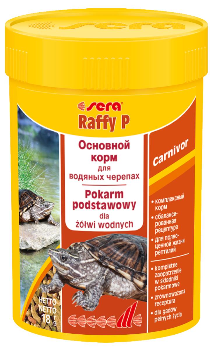 Корм для рептилий Sera Raffy P, 100 мл (18 г)1840Корм для рептилий Sera Raffy P - комплексный корм для водных черепах, ящериц и других плотоядных рептилий. Сбалансированный состав с оптимальным содержанием легко усваиваемых белков и углеводов, а также высококачественных жиров способствует здоровому развитию животных. Эти вкусные палочки содержат все необходимые ингредиенты, а также дополнительное количество кальция. Инструкция по применению: Кормить экономно. Смешать со свежим кормом в соответствии с потребностями животных. Ингредиенты: кукурузный крахмал, пшеничная клейковина, рыбная мука, пшеничная мука, пивные дрожжи, цельный яичный порошок, рыбий жир, гаммарус, зеленые мидии, люцерна, растительное сырье, крапива, петрушка, морские водоросли, паприка, спирулина, шпинат, морковь, чеснок. Аналитический состав: протеин 41,0%, жиры 5,4%, клетчатка 4,5%, влажность 4,0%, зольные вещества 5,4%, кальций 1,0%, фосфор 0,6%. Витамины (на 1 кг): А 30000 МЕ, D3 15000...