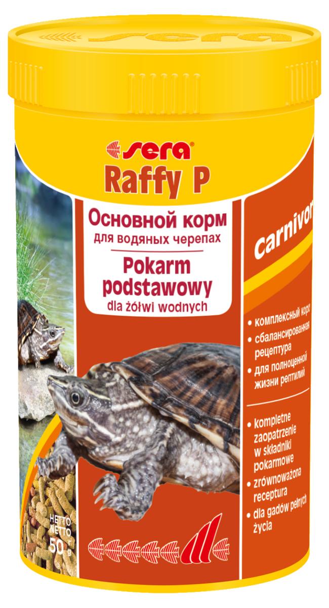 Корм для рептилий Sera Raffy P, 250 мл (50 г)1850Корм для рептилий Sera Raffy P - комплексный корм для водных черепах, ящериц и других плотоядных рептилий. Сбалансированный состав с оптимальным содержанием легко усваиваемых белков и углеводов, а также высококачественных жиров способствует здоровому развитию животных. Эти вкусные палочки содержат все необходимые ингредиенты, а также дополнительное количество кальция. Инструкция по применению: Кормить экономно. Смешать со свежим кормом в соответствии с потребностями животных. Ингредиенты: кукурузный крахмал, пшеничная клейковина, рыбная мука, пшеничная мука, пивные дрожжи, цельный яичный порошок, рыбий жир, гаммарус, зеленые мидии, люцерна, растительное сырье, крапива, петрушка, морские водоросли, паприка, спирулина, шпинат, морковь, чеснок. Аналитический состав: протеин 41,0%, жиры 5,4%, клетчатка 4,5%, влажность 4,0%, зольные вещества 5,4%, кальций 1,0%, фосфор 0,6%. Витамины (на 1 кг): А 30000 МЕ, D3 15000 МЕ, Е 60 мг, В1 30 мг, В2 90...