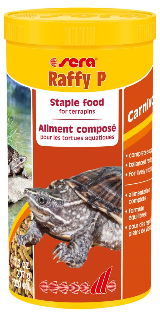 Корм для рептилий Sera Raffy P, 1 л (207 г)1870Корм для рептилий Sera Raffy P - комплексный корм для водных черепах, ящериц и других плотоядных рептилий. Сбалансированный состав с оптимальным содержанием легко усваиваемых белков и углеводов, а также высококачественных жиров способствует здоровому развитию животных. Эти вкусные палочки содержат все необходимые ингредиенты, а также дополнительное количество кальция. Инструкция по применению: Кормить экономно. Смешать со свежим кормом в соответствии с потребностями животных. Ингредиенты: кукурузный крахмал, пшеничная клейковина, рыбная мука, пшеничная мука, пивные дрожжи, цельный яичный порошок, рыбий жир, гаммарус, зеленые мидии, люцерна, растительное сырье, крапива, петрушка, морские водоросли, паприка, спирулина, шпинат, морковь, чеснок. Аналитический состав: протеин 41,0%, жиры 5,4%, клетчатка 4,5%, влажность 4,0%, зольные вещества 5,4%, кальций 1,0%, фосфор 0,6%. Витамины (на 1 кг): А 30000 МЕ, D3 15000 МЕ, Е 60 мг, В1 30 мг, В2 90...