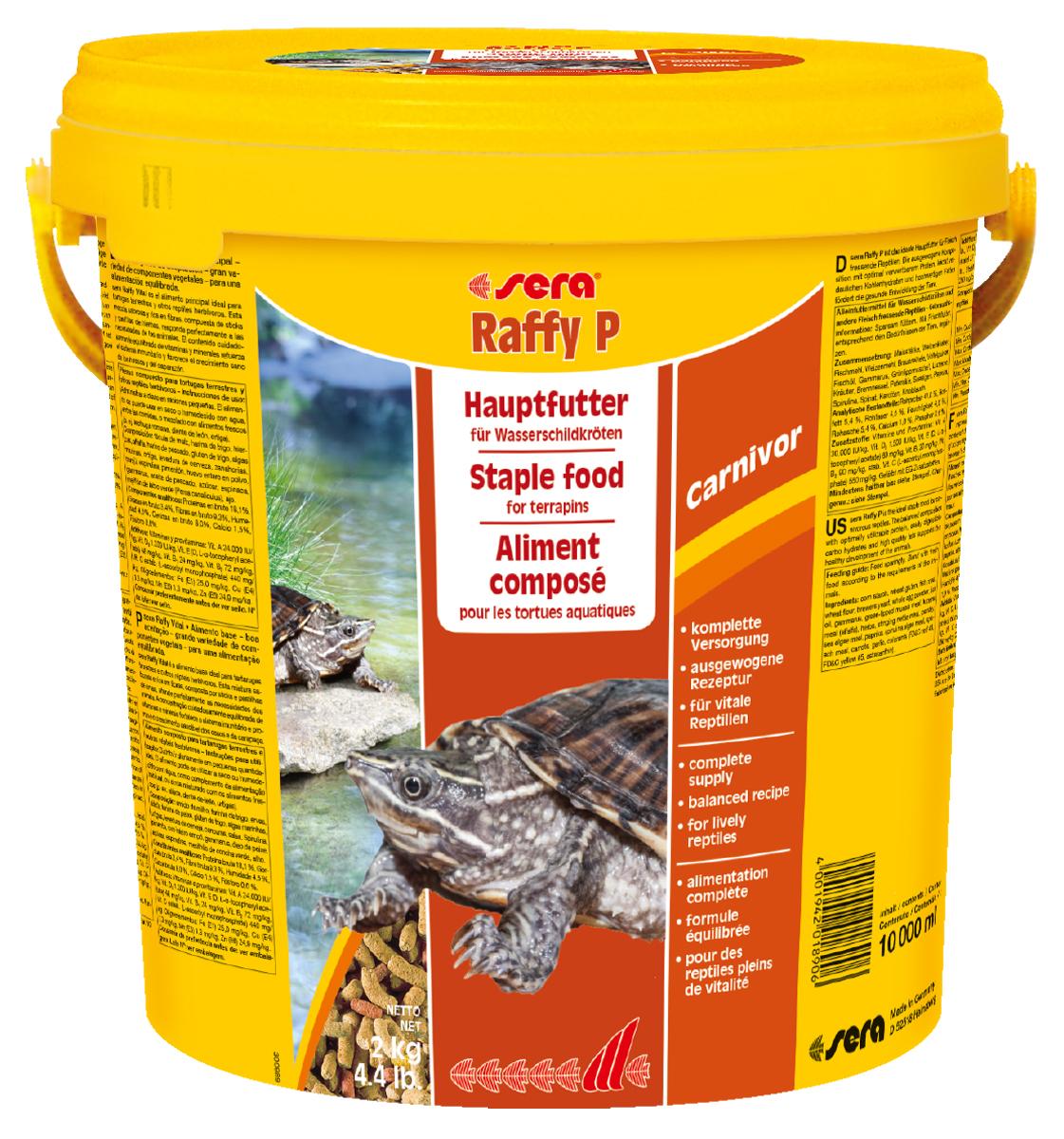 Корм для рептилий Sera Raffy P, 10 л (2 кг)1890Корм для рептилий Sera Raffy P - комплексный корм для водных черепах, ящериц и других плотоядных рептилий. Сбалансированный состав с оптимальным содержанием легко усваиваемых белков и углеводов, а также высококачественных жиров способствует здоровому развитию животных. Эти вкусные палочки содержат все необходимые ингредиенты, а также дополнительное количество кальция. Инструкция по применению: Кормить экономно. Смешать со свежим кормом в соответствии с потребностями животных. Ингредиенты: кукурузный крахмал, пшеничная клейковина, рыбная мука, пшеничная мука, пивные дрожжи, цельный яичный порошок, рыбий жир, гаммарус, зеленые мидии, люцерна, растительное сырье, крапива, петрушка, морские водоросли, паприка, спирулина, шпинат, морковь, чеснок. Аналитический состав: протеин 41,0%, жиры 5,4%, клетчатка 4,5%, влажность 4,0%, зольные вещества 5,4%, кальций 1,0%, фосфор 0,6%. Витамины (на 1 кг): А 30000 МЕ, D3 15000...