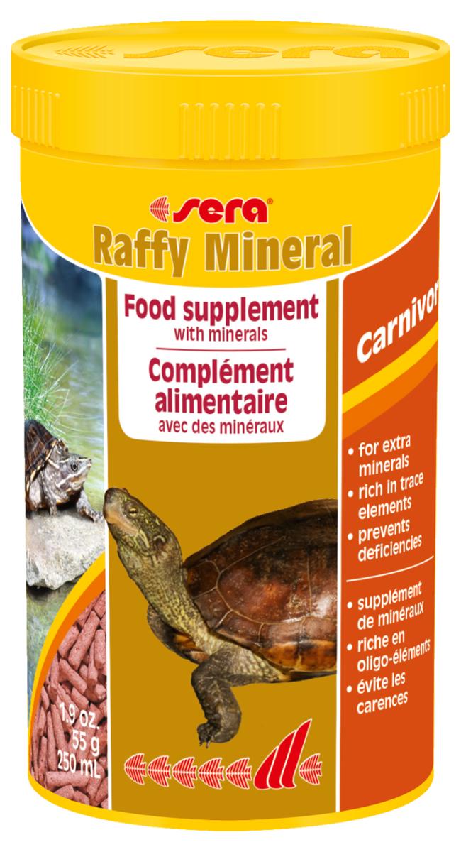 Корм для рептилий Sera Raffy Mineral, 250 мл (55 г)1893Дополнительный корм для водяных черепах и других плотоядных рептилий – содержит жизненно важные минералы, витамины и микроэлементы. Надежно предотвращает их дефицит, который может случаться при кормлении некоторыми видами свежих кормов, тем самым поддерживая правильное развитие животных. Инструкция по применению: Кормить экономно, несколько раз в неделю, между основными кормлениями. При необходимости можно кормить ежедневно. Ингредиенты: кукурузный крахмал, пшеничная клейковина, рыбная мука, пшеничная мука, пивные дрожжи, рыбий жир, цельный яичный порошок, трикальций фосфат, сульфат магния, гаммарус, хлорид кальция, зеленые мидии, крапива, люцерна, растительное сырье, петрушка, морские водоросли, паприка, спирулина, шпинат, морковь, чеснок. Аналитический состав: Протеин 32,0%, Жиры 4,9%, Клетчатка 3,9%, Влажность 5,4%, Зольные вещества 5,2%, Кальций 2,1%, Фосфор 0,8%. Содержание добавок: Витамины и провитамины: Bит. A 30.000 МЕ/кг, Bит. D3 1.500 МЕ/кг, Bит. E (D, L-?-tocopheryl...