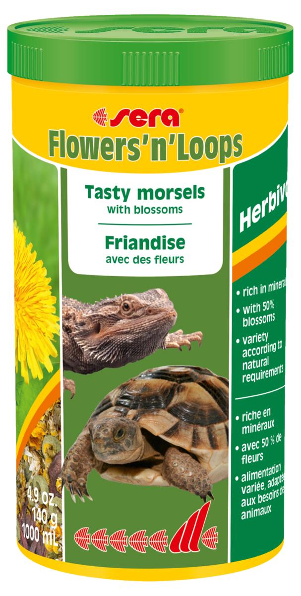 Корм для рептилий Sera FlowersnLoops, 1 л (140 г)1900Корм для рептилий Sera FlowersnLoops - деликатесный корм, состоящий из смеси высушенных цветов (50%) и колечек, произведенных путем бережной обработки сырья. Предназначен для сухопутных черепах и всех других видов растительноядных рептилий. Цветы, благодаря их аромату и цвету, а также высоким питательным качествам, соответствуют естественным пищевым привычкам животных. Пищевые потребности животных полностью удовлетворяются, поскольку в состав смеси входят колечки, богатые ценными питательными веществами, витаминами и минералами. Регулярное добавление в рацион питания этого привлекательного для рептилий деликатесного корма способствует полноценному развитию рептилий, их устойчивости к заболеваниям и жизнестойкости. Ингредиенты: соцветия 50% (гибискус, календула, ромашка), кукурузный крахмал, пшеничная мука, рыбная мука, пшеничная клейковина, пивные дрожжи, травы, люцерна, крапива, петрушка, спирулина, гаммарус, рыбий жир, морские водоросли, паприка, шпинат, морковь,...