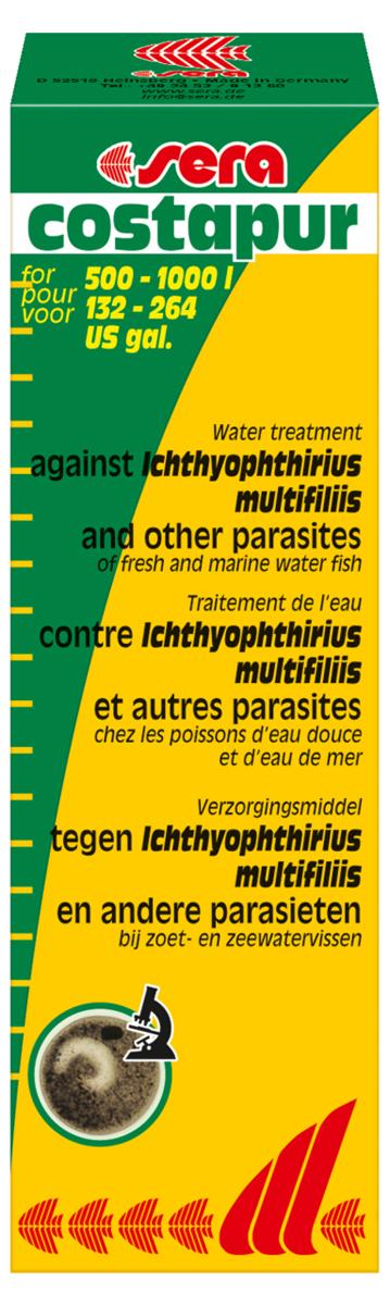 Средство для воды Sera Costapur, 50 мл2130Хорошо себя зарекомендовавшее средство против ихтиофтириоза (белые точки) и других кожных паразитов, таких как костия, хилодонелла и триходина, для пресноводной и морской рыбы. В случае заражения ихтиофтириозом бесчешуйчатые рыбы (такие как вьюновые и сомы), а также ослабленные, подвергаютя особо высокой опасности. Органические (например, гуминовые кислоты) и неорганические (например, формирующие жесткость) вещества в аквариумной воде могут влиять на эффективность лечения. Поэтому мы рекомендуем произвести частичную подмену воды перед началом лечения.
