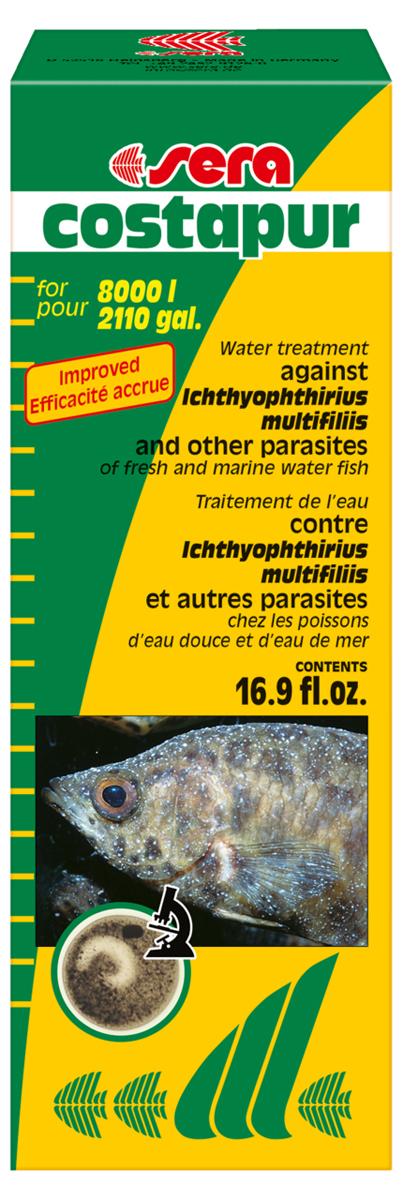 Средство для воды Sera Costapur, 500 мл2160Хорошо себя зарекомендовавшее средство против ихтиофтириоза (белые точки) и других кожных паразитов, таких как костия, хилодонелла и триходина, для пресноводной и морской рыбы. В случае заражения ихтиофтириозом бесчешуйчатые рыбы (такие как вьюновые и сомы), а также ослабленные, подвергаютя особо высокой опасности. Органические (например, гуминовые кислоты) и неорганические (например, формирующие жесткость) вещества в аквариумной воде могут влиять на эффективность лечения. Поэтому мы рекомендуем произвести частичную подмену воды перед началом лечения.