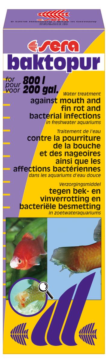 Средство для воды Sera Baktopur, 50 мл2550SERA бактопур надежно борется с бактериальными инфекциями, такими как нагноение ротовой полости и плавниковая гниль; симптомами бактериальных заболеваний являются белые с сероватым оттенком, подобные вате, образования на коже и плавниках пресноводных и прудовых рыб.