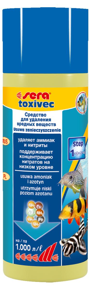 Средство для воды Sera Toxivec, 250 мл3002Средство для воды Sera Toxivec содержит новейшую формулу QuickClean и немедленно устраняет опасные загрязнители, угрожающие жизни рыб и фильтрующих бактерий, из аквариумной воды, устраняет аммоний/аммиак и нитриты. Благодаря этому он предотвращает их переход в нитраты и, таким образом, сдерживает рост нежелательных водорослей. Кроме того, он устраняет агрессивный хлор из водопроводной воды. Также эффективен в качестве устранителя остатков дезинфицирующих средств и примененных лекарств. При этом он способен даже на большее: связывает токсичные тяжёлые металлы, такие как медь, цинк, свинец и даже ртуть. Поэтому эти загрязнители не могут навредить рыбам и полезным бактериям в биофильтре. Благодаря этому частота подмен воды может быть снижена. При необходимости, например, при особенно высоких уровнях загрязнения, допускается повышение применяемой дозы средства. Повторное внесение средства возможно уже через один-два часа. Уважаемые клиенты! Обращаем ваше внимание на...