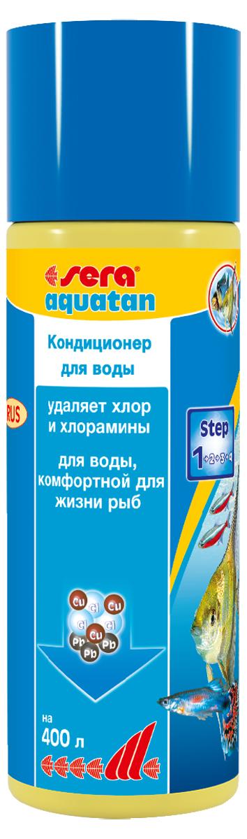 Средство для воды Sera Aquatan, 100 мл3040При каждой подмене воды в аквариум могут попасть такие токсичные вещества, как хлор и тяжелые металлы. Эти вещества могут присутствовать в концентрациях опасных для жизни рыб даже в хорошо очищенной водопроводной воде. sera aquatan немедленно удаляет вредные вещества и превращает водопроводную воду в здоровую аквариумную воду, комфортную для жизни рыб. Он гарантирует оптимальные условия для жизни рыб, беспозвоночных, растений, а также полезных микроорганизмов. Для обеспечения рыб комфортной для жизни, безопасной и чистой водой sera aquatan немедленно удаляет хлор и хлорамины, связывает токсичные тяжелые металлы, такие как медь, цинк или свинец, предотвращает загрязнение воды аммиаком, pH-нейтральная формула. В комбинации с sera bio nitrivec способствует быстрой адаптации вновь купленных рыб к существующим в аквариуме условиям.