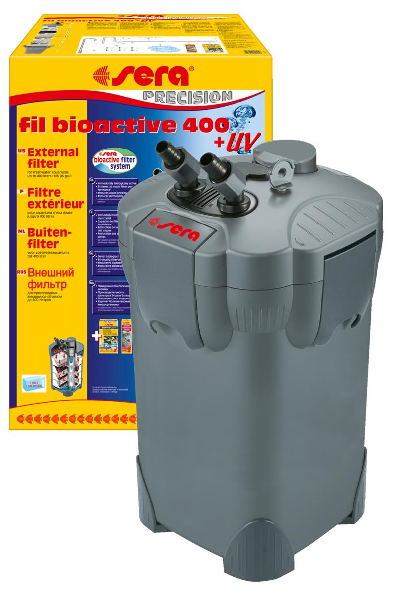 Фильтр аквариумный внешний Sera Serafil Bioactive 400 + УФ30605Многоцелевые, удобные и простые в использовании внешние фильтры с встроенным УФ-стерилизатором для пресноводных аквариумов. Эти мощные, и при этом экономящие энергию, внешние фильтры с большим количеством принадлежностей готовы к эксплуатации и немедленно биологически активны. Емкости для фильтрующих материалов гарантируют оптимальную послойную укладку фильтрующих материалов и простой доступ к ним. Входной и выходящий патрубки фильтров разработаны таким образом, что соединительные шланги могут отделяться для чистки с помощью разборных соединений с регулируемым вентилем. Фильтры серии УФ (130 + УФ, 250 + УФ, 400 + УФ) оснащены встроенной УФ-лампой 5 Вт, которая облучает жестким УФ-излучением фильтруемую воду, уничтожая болезнетворных организмов, паразитов и водорослей на стадии размножения. Надежные фильтры отличаются тихой работой двигателя и длительным сроком службы. Все фильтры поставляются с высокоэффективным фильтрующим материалом Sera siporax Professional и биологическим...