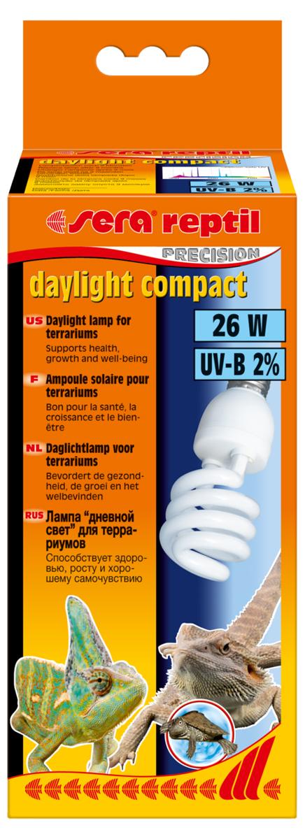 Лампа аквариумная Sera Reptil Daylight Compact, 2%, 26W32018Лампа дневного освещения для террариумов 2% UV-B. Освещение для террариумов с базовым уровнем излучения UV-B. Способствует росту растений.