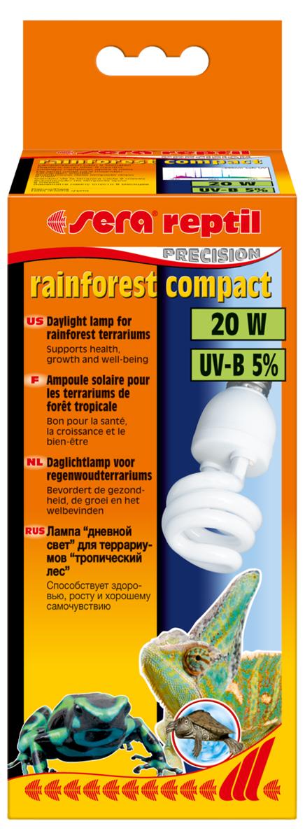Лампа аквариумная Sera Reptil Rainforest Compact UV-B, 5%, 20W32020Освещение для террариумов с обитателями тропических лесов. 5% UV-B. Средняя интенсивность UV-B излучения. Идеально сочетается с лампой Sera reptil daylight compact 2% UV-B.