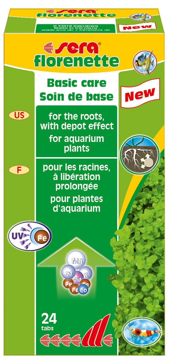 Удобрение для аквариумных растений Sera Florenette, 24 таблетки3320Идеальный продукт для ухода за водными растениями которые потребляют питательные вещества в основном через корни. Эти вдавливаемые в грунт таблетки обеспечивают водные растения всеми необходимыми минералами и микроэлементами для здорового и пышного роста. Специальная формула обеспечивает длительное и интенсивное питание, также и в частности, с часто ограниченным содержанием железа. Эффективные природные усиливающие рост добавки обеспечивают мощный импульс роста, который, в свою очередь, значительно облегчает фазу укоренения растений. Продукт не содержит нитратов и фосфатов. Он хорошо переносим всеми беспозвоночными. Нежелательные водоросли не имеют никаких шансов размножиться из-за высокой скорости роста водных растений. Комбинация sera florenette и sera florena отлично сбалансирована и оптимально соответствует всем требованиям различных аквариумных растений.