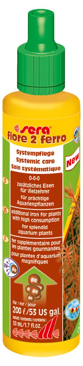 Удобрение для аквариумных растений Sera Flore 2 Ferro, 50 мл3344Дополнительное железо для насыщенной окраски растений. Поставляет растениям железо в достаточном количестве и таким образом способствует формированию насыщенного цвета. Использование специального хелатного комплекса железа позволяет ему оставаться в доступной форме в течение нескольких дней. sera flore 2 ферро не содержит нитратов и фосфатов. Хорошо переносим всеми беспозвоночными.