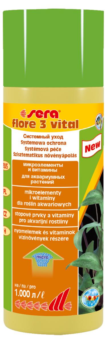 Удобрение для аквариумных растений Sera Flore 3 Vital, 250 мл3348Для повышения выносливости растений. sera flore 3 витал надежно предотвращает опасные перебои в снабжении питательными веществами, поддерживая, при ежедневном применении, постоянным уровень жизненно важных микроэлементов и витаминов. Добавлением редких, но важных микроэлементов повышается устойчивость водных растений к болезням. Растения будут оставаться здоровыми и становиться менее чувствительными к неблагоприятным внешним воздействиям. sera flore 3 витал не содержит нитратов и фосфатов. Хорошо переносим всеми беспозвоночными.