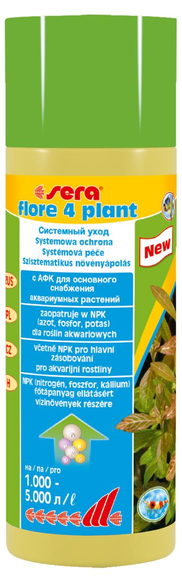 Удобрение для аквариумных растений Sera Flore 4 Plant, 250 мл3350Средство по уходу за растениями в аквариумах с небольшим поголовьем обитателей. sera flore 4 плант был разработан для снабжения здоровых и бурно растущих водных растений азотом, фосфором и калием в оптимальном соотношении в аквариумах выполненных в «акваскейп» и «Голландском» стилях. sera flore 4 плант хорошо переносим всеми беспозвоночными.