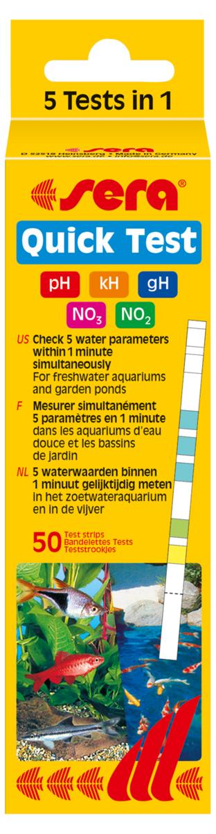Тест для воды Sera Quick Test 5-In-1, на 5 параметров воды4960Тест для воды Sera Quick Test 5-In-1 позволяет проверить основные параметры воды: значение pH, карбонатная жесткость, общая жесткость, нитраты и нитриты. Одна упаковка sera Quick Test содержит 50 тестовых полосок. Если параметры отличаются от оптимальных значений, вы можете установить их точные значения при помощи тестов на жидких реагентах. Применение: опустите тестовую полоску в аквариум на секунду, подождите 1 минуту и сравните полученные на полоске цвета с цветами на упаковке.