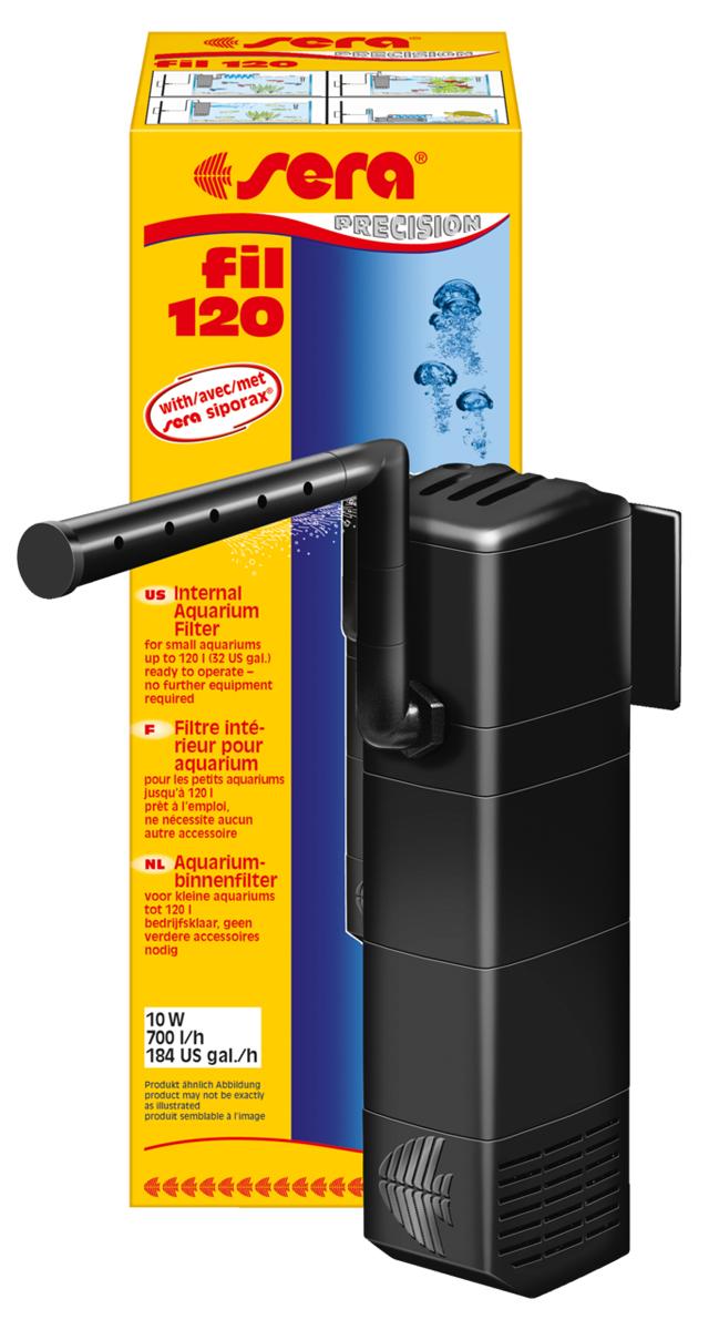 Фильтр аквариумный внутренний Sera Serafil, до 120 л6844Sera fil 120 предназначен для аквариумов объёмом до 120 литров. Дополнительное преимущество: подача воды при помощи трубки Вентури (аэрация) помогает насыщать воду кислородом. Широчайший набор аксессуаров, состоящий из коленчатых трубок, флейты для распыления воды и присосок, позволяет установить фильтр в самых разных положениях. Дополнительный, третий отсек фильтра Sera fil 120 наполнен новым, высокоактивным биологическим наполнителем Sera siporax mini. Так как Sera fil 120 можно установить в горизонтальном положении, он отлично подойдет для акватеррариумов с черепахами, имеющими низкий уровень воды.Фильтр может быть усовершенствован при помощи дополнительных модулей и практически не требует обслуживания – одобрение TUV/GS и CE гарантируют безопасность использования.