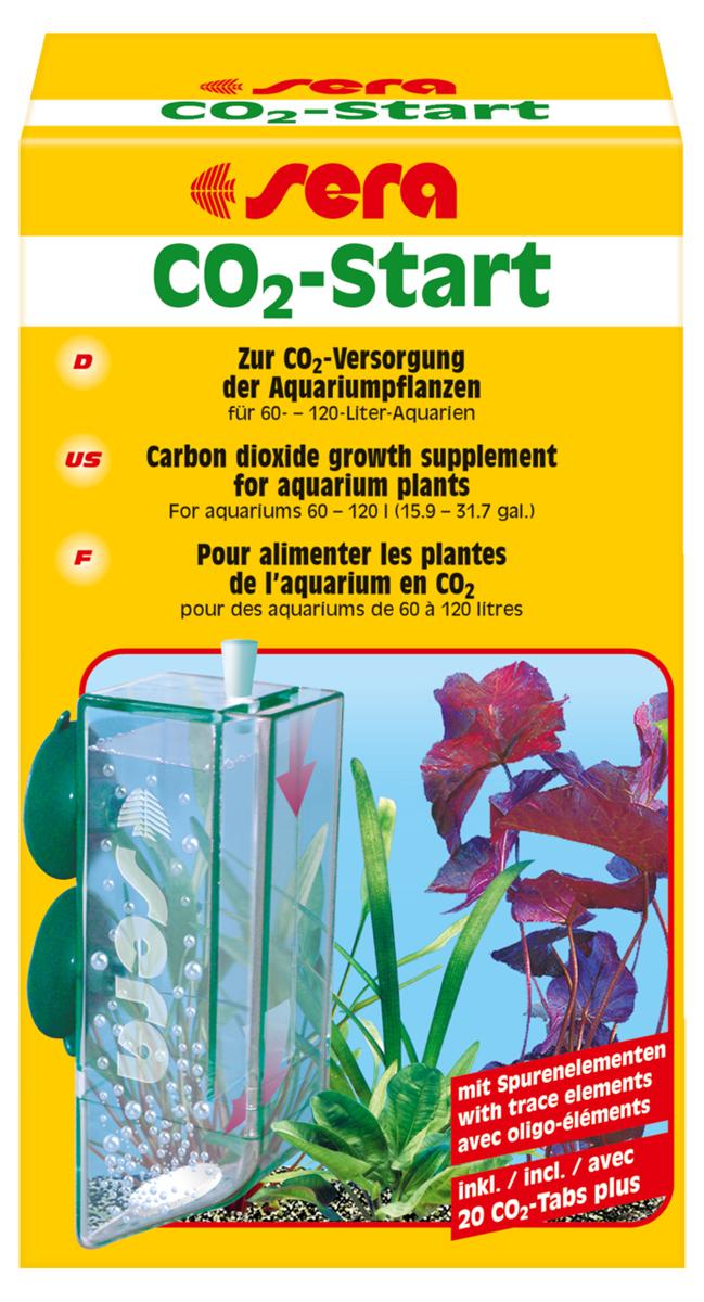 Набор для удобрения воды Sera CO2-Start8039Набор Sera CO2-Start состоит из диффузионного реактора и набора таблеток, из которых выделяется углекислый газ и полезные микроэлементы. Корпус реактора выполнен из специального пластика, сквозь который молекулы углекислого газа постепенно попадают в аквариумную воду. Выделившийся из таблеток углекислый газ полностью растворяется в воде и не может улетучиться в атмосферу. Данный набор можно использовать в аквариумах до 120 литров. Для аквариумов больших размеров следует использовать Sera систему удобрения CO2.