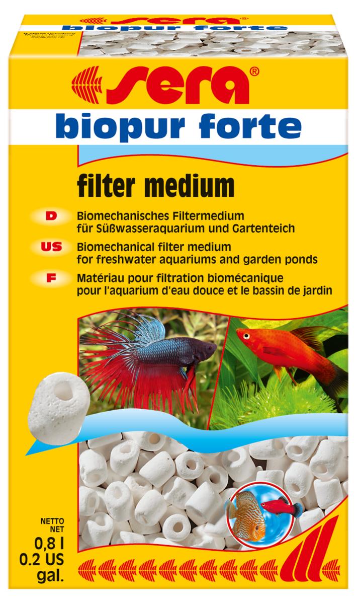 Наполнитель биологический Sera Biopur Forte, 0,8 л8422Биомеханический наполнитель для фильтров. Для биологической и механической фильтрации во всех пресноводных аквариумах. Высокая пористость наполнителя создаёт оптимальные условия для жизни нитрифицирующих бактерий и других микроорганизмов. Sera biopur forte следует тщательно промыть (без применения моющих средств!) перед первым использованием.