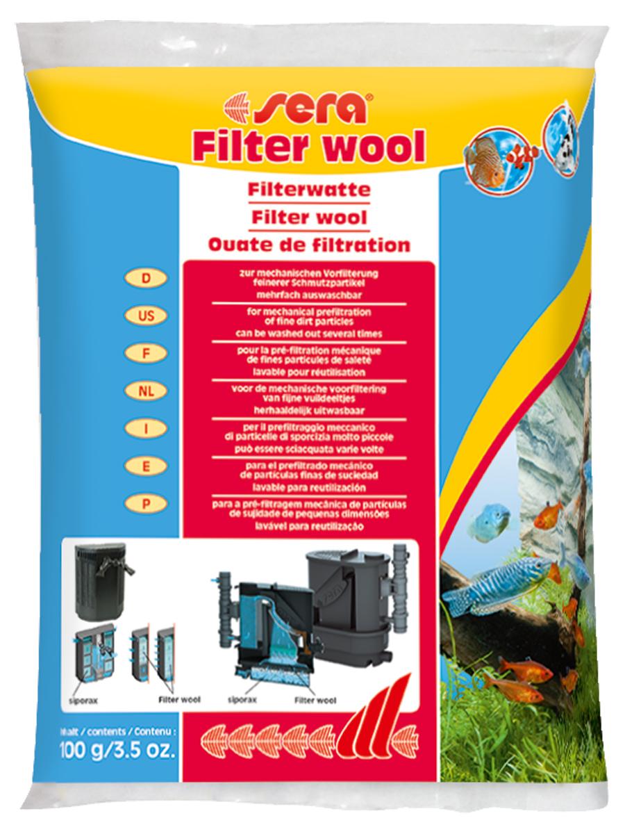 Фильтрующая вата Sera Filter Wool, 100 г8460Предназначена для использования в качестве фильтрующего материала тонкой очистки в любых внешних и внутренних фильтрах. Информация по использованию: перед использованием в фильтре тщательно промойте Sera фильтрующую вату под струёй тёплой воды! Хранить в недоступном для детей и домашних животных месте.