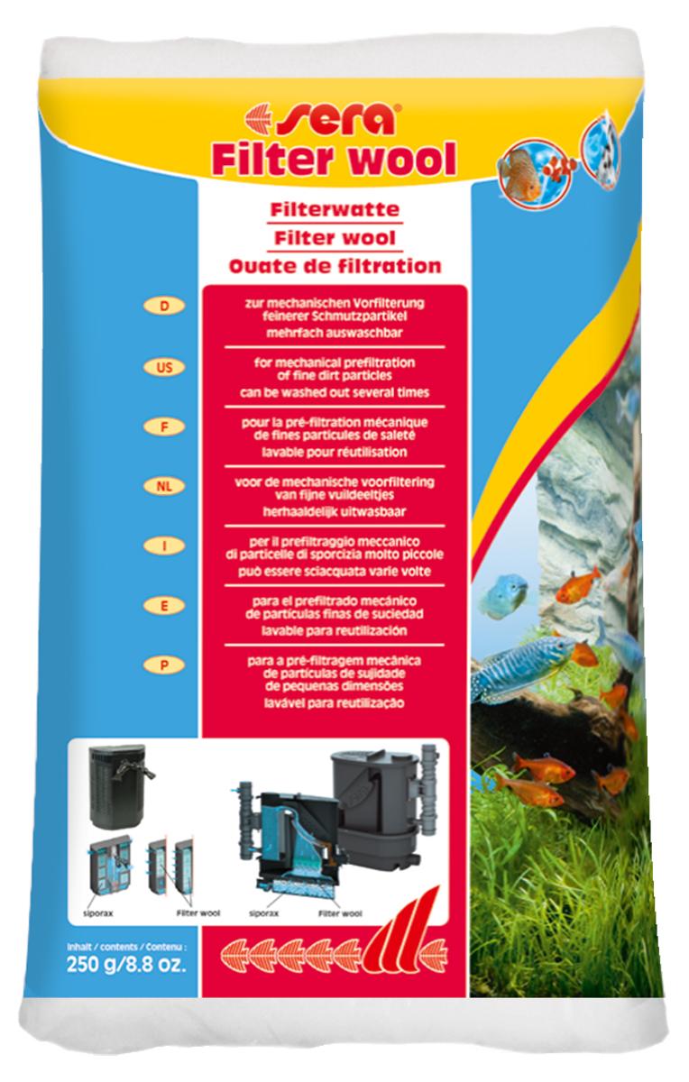 Фильтрующая вата Sera Filter Wool, 250 г8463Предназначена для использования в качестве фильтрующего материала тонкой очистки в любых внешних и внутренних фильтрах. Информация по использованию: перед использованием в фильтре тщательно промойте Sera фильтрующую вату под струёй тёплой воды! Хранить в недоступном для детей и домашних животных месте.
