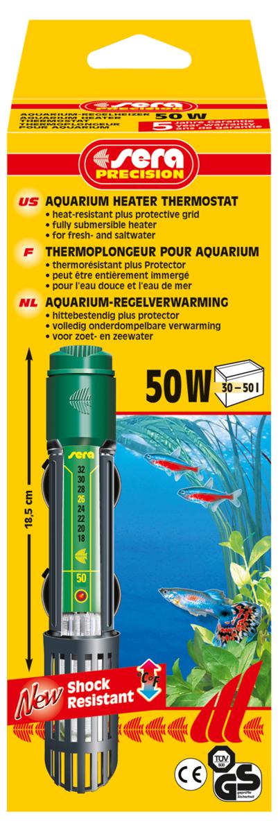 Нагреватель для аквариума Sera Precision, 50 Вт8710Высококачественный, оборудованный термостатом обогреватель с корпусом из ударопрочного кварцевого стекла, надежной схемой защиты и защитной сеткой. Sera регулируемый аквариумный нагреватель очень короткий и легко устанавливается в небольшие аквариумы. Режим работы обогревателя вкл/выкл отображается с помощью небольшой лампы. Гарантия 5 лет.