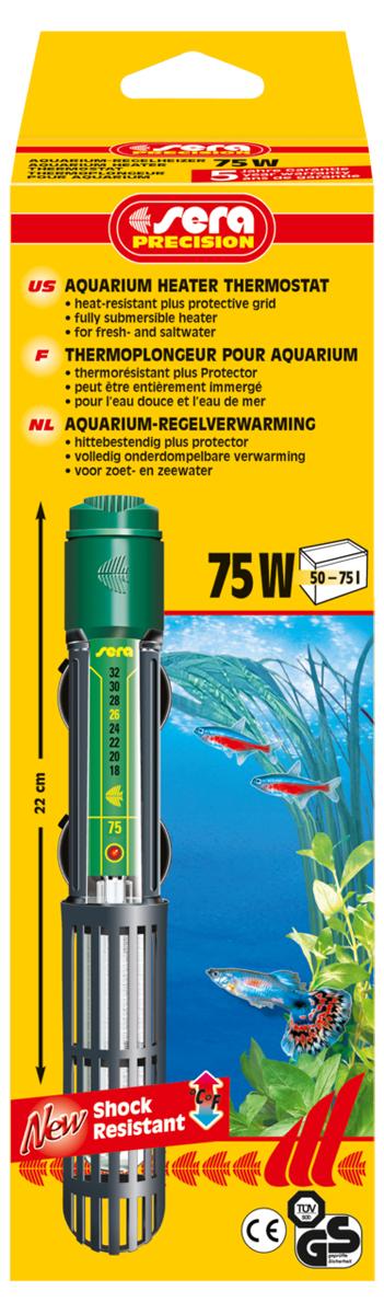 Нагреватель для аквариума Sera Precision, 75 Вт8715Высококачественный, оборудованный термостатом обогреватель с корпусом из ударопрочного кварцевого стекла, надежной схемой защиты и защитной сеткой. Sera регулируемый аквариумный нагреватель очень короткий и легко устанавливается в небольшие аквариумы. Режим работы обогревателя вкл/выкл отображается с помощью небольшой лампы. Гарантия 5 лет.