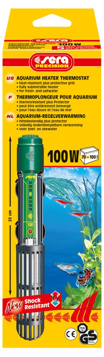 Нагреватель для аквариума Sera Precision, 100 Вт8720Высококачественный нагреватель для аквариума Sera Precision оборудован термостатом, надежной схемой защиты и защитной сеткой, снабжен корпусом из ударопрочного кварцевого стекла. Регулируемый аквариумный нагреватель очень короткий и легко устанавливается в небольшие аквариумы. Режим работы обогревателя вкл/выкл отображается с помощью небольшой лампы. Объем аквариума: 70-100 л. Длина нагревателя: 22 см.