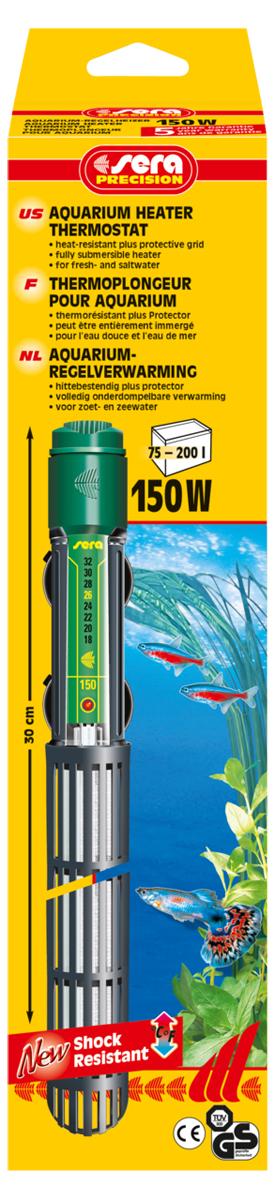 Нагреватель для аквариума Sera Precision, 150 Вт8730Высококачественный, оборудованный термостатом обогреватель с корпусом из ударопрочного кварцевого стекла, надежной схемой защиты и защитной сеткой. Sera регулируемый аквариумный нагреватель очень короткий и легко устанавливается в небольшие аквариумы. Режим работы обогревателя вкл/выкл отображается с помощью небольшой лампы. Гарантия 5 лет.