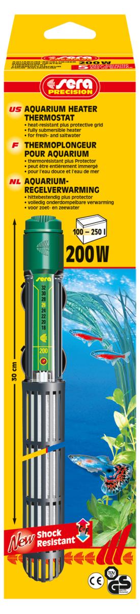 Нагреватель для аквариума Sera Precision, 200 Вт8740Высококачественный, оборудованный термостатом обогреватель с корпусом из ударопрочного кварцевого стекла, надежной схемой защиты и защитной сеткой. Sera регулируемый аквариумный нагреватель очень короткий и легко устанавливается в небольшие аквариумы. Режим работы обогревателя вкл/выкл отображается с помощью небольшой лампы. Гарантия 5 лет.
