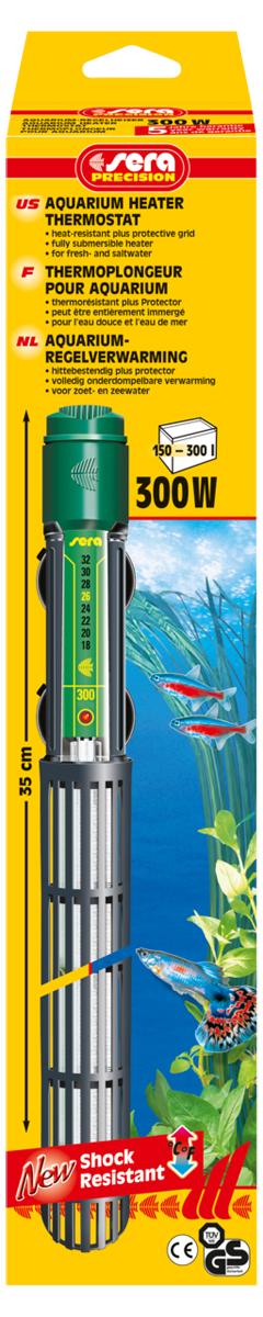 Нагреватель для аквариума Sera Precision, 300 Вт8750Высококачественный, оборудованный термостатом обогреватель с корпусом из ударопрочного кварцевого стекла, надежной схемой защиты и защитной сеткой. Sera регулируемый аквариумный нагреватель очень короткий и легко устанавливается в небольшие аквариумы. Режим работы обогревателя вкл/выкл отображается с помощью небольшой лампы. Гарантия 5 лет.
