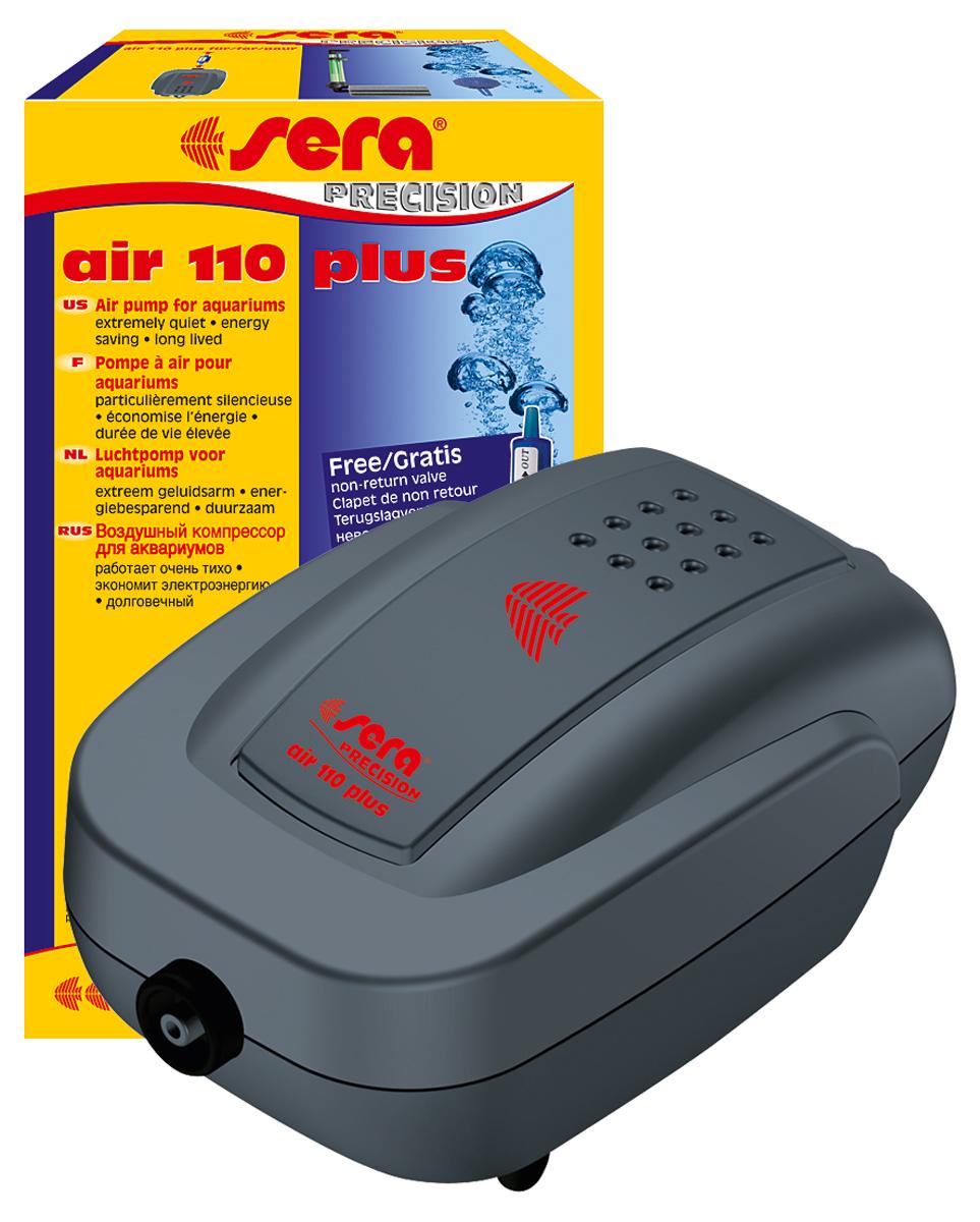 Компрессор аквариумный Sera Air 110 Plus8812Компрессор аквариумный Sera Air 110 Plus подходит для обогащения воды кислородом через распылитель для фильтров (например, внутренние фильтры Sera серии L (Sera internal filter L)), а также для приведения в движение подвижных декоративных элементов, работающих от воздушного компрессора. Воздушные компрессоры Sera Air Plus отвечают всем современным требованиям: - высокое качество, - корпус из шумопоглащающего материала обеспечивает низкий уровень шума, - современный дизайн, - низкое потребление энергии, - долгий срок службы.