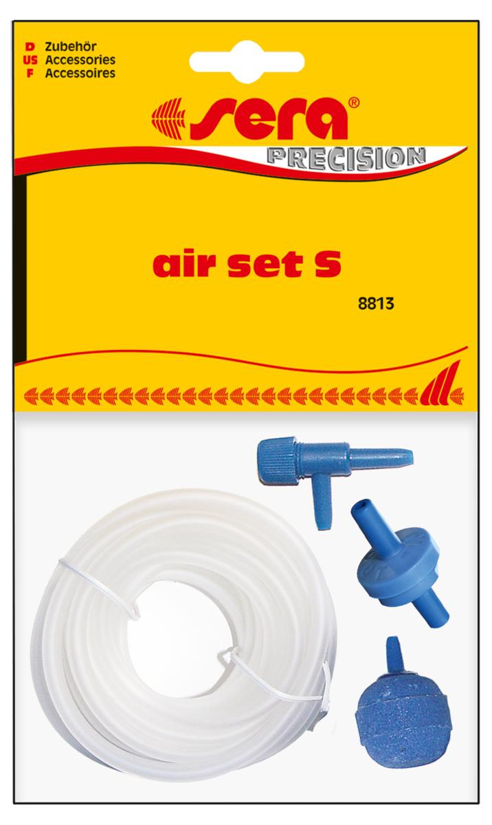 Набор аксессуаров для компрессора Sera Air Set S8813Набор аксессуаров для компрессора. Состав набора:- высококачественный силиконовый шланг - 2м.- обратный клапан - 1 шт.- регулятор производительности - 1шт.- распылитель воздуха - 1 шт. Обратный клапан должен быть подключен стороной IN к шлангу, идущему от компрессора, а стороной OUT к шлангу, идущему в аквариум. Если клапан не пропускает воздух, проткните его тонким предметом, например канцелярской скрепкой.