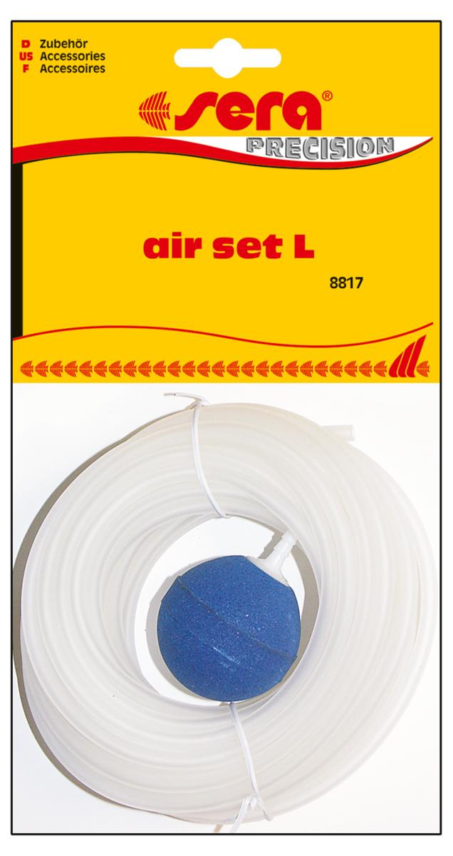 Набор аксессуаров для компрессора Sera Air Set L8817Набор аксессуаров для компрессора. Состав набора:- высококачественный силиконовый шланг - 10 м.- распылитель воздуха (большой) - 1 шт. Обратный клапан должен быть подключен стороной IN к шланг, уидущему от компрессора, а стороной OUT к шлангу, идущему в аквариум. Если клапан не пропускает воздух, проткните его тонким предметом, например канцелярской скрепкой.