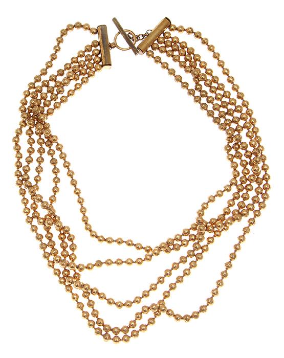 Колье Золотые бусины. Бижутерный сплав золотого тона. США, 1960-е годыNL0020Колье Золотые бусины. Бижутерный сплав золотого тона. США, 1960-е годы. Длина 41 см (можно меньше). Сохранность хорошая.