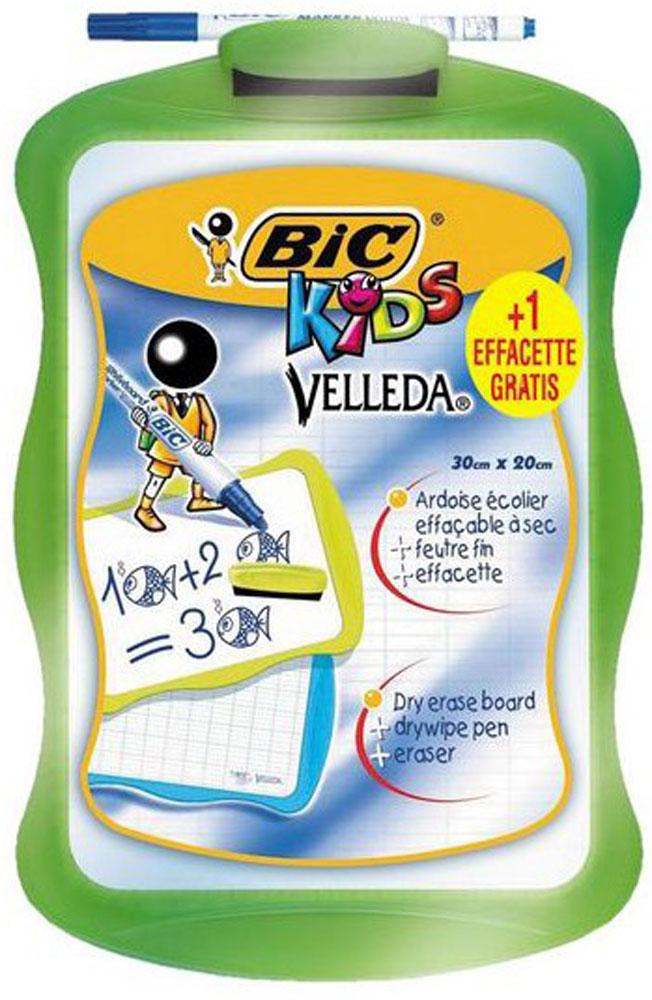 Bic Доска для рисования Velleda цвет зеленый841362_зеленыйДвухсторонняя доска для рисования Bic Velleda сделает занятия с ребенком энергичными, яркими и запоминающимися, ведь писать и рисовать на ней намного интереснее, чем в классической тетрадке. Доска выполнена из плотного и качественного материала. Одна сторона доски белая, другая разлинована в голубую линейку. Размер рабочей поверхности: 24,5 х 17,0 см. Доска предназначена для многократного нанесения информации - достаточно стереть записи губкой, входящей в комплект. В комплект также входит маркер синего цвета. Маркер крепится к доске с помощью специального держателя.