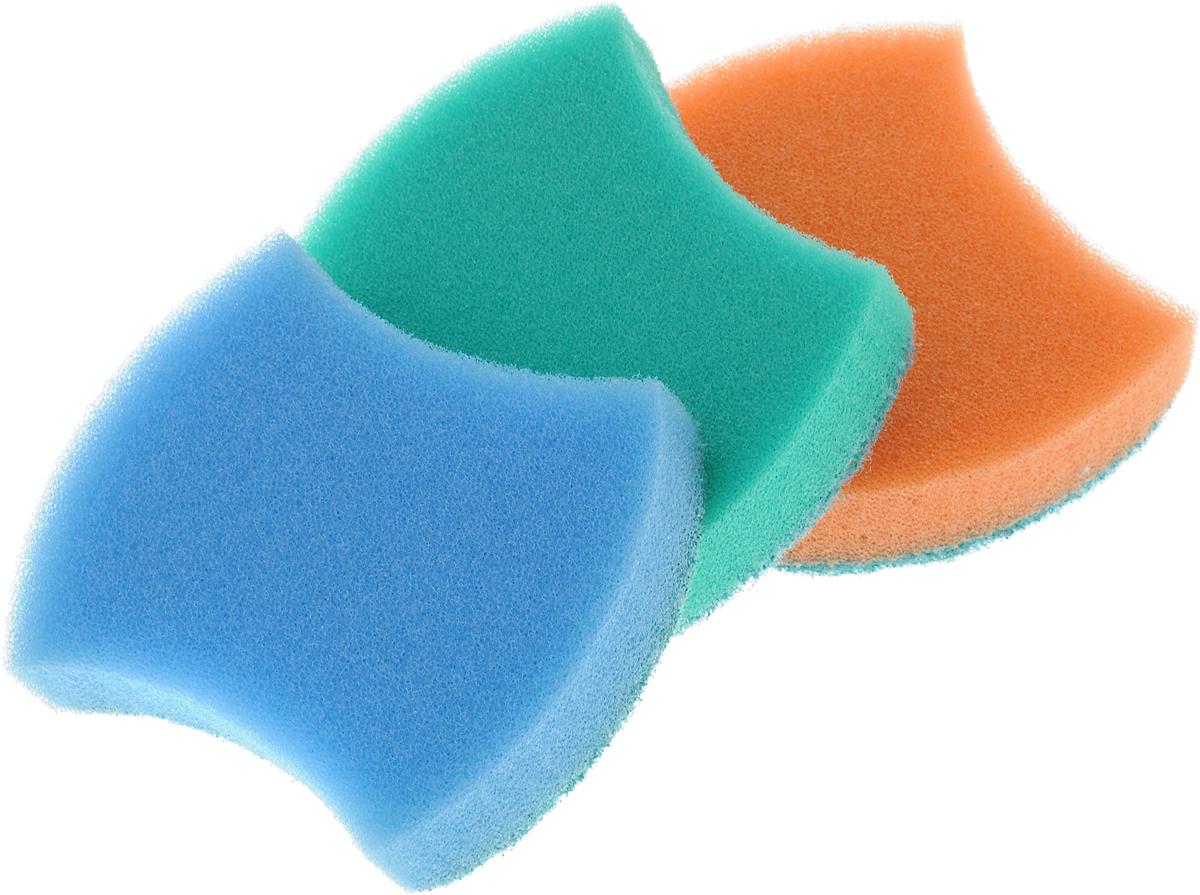 Губка универсальная Фэйт Модерн, цвет: голубой, зеленый, оранжевый, 3 шт1.4.01.008_голубой, зеленый, оранжевыйУниверсальная губка Фэйт Модерн, изготовленная из особо прочного поролона и абразива, прекрасно впитывает влагу, не оставляет ворсинок и разводов, быстро сохнет. Предназначена для мытья любых поверхностей. Мягкий слой для деликатного мытья, жесткий - для сильных загрязнений. Размер губки: 9 х 7 х 2,5 см. Комплектация: 3 шт.