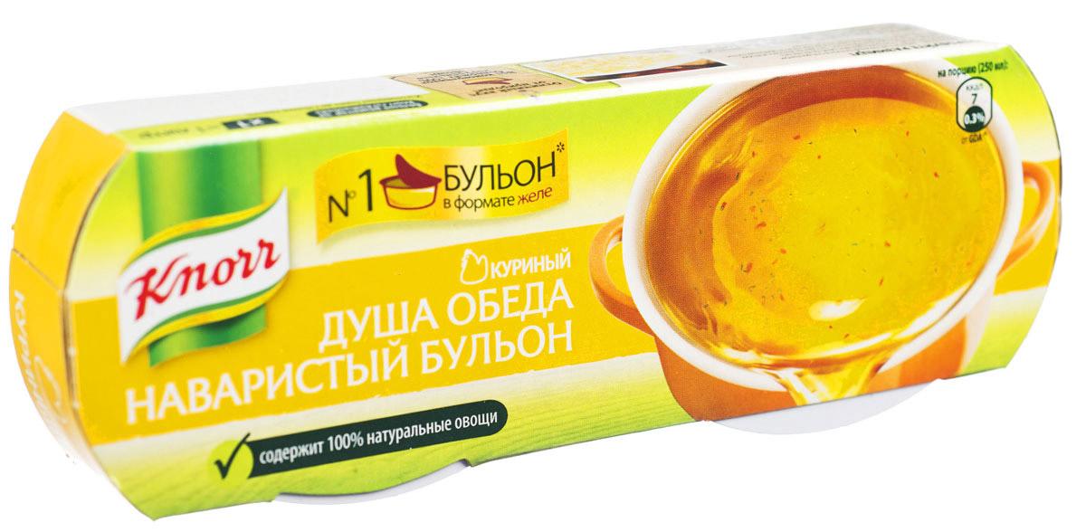 Knorr Приправа Бульон куриный желе, 2 штуки по 28 г67000950Новый Кнорр Душа обеда — нежный куриный бульон в желеобразной форме. Он сделан из отборных ингредиентов — птицы и овощей высокого качества, приготовленных путем долгого томления до желеобразной консистенции. Добавьте его, когда Вы готовите суп, вместе с овощами (1 шт на 1 литр) — и Вы увидите, как легко он растворяется, отдавая блюду настоящий аромат и вкус домашнего куриного бульона. Попробуйте Кнорр Душа обеда также для приготовления овощей, мяса и гарниров. Как сохранить полезные свойства наваристого куриного бульона надолго, знали еще ваши бабушки. Точно так же, как при готовке холодца, желеобразная консистенция бульона создавалась при охлаждении благодаря варке куриного мяса на косточках. Традиционный способ желирования вкусных супов применялся задолго до появления первых холодильников и сохранял вкус и аромат только что сваренного блюда. Кнорр восстановили технологию долгого томления, которая из поколение в поколение передавалась в...
