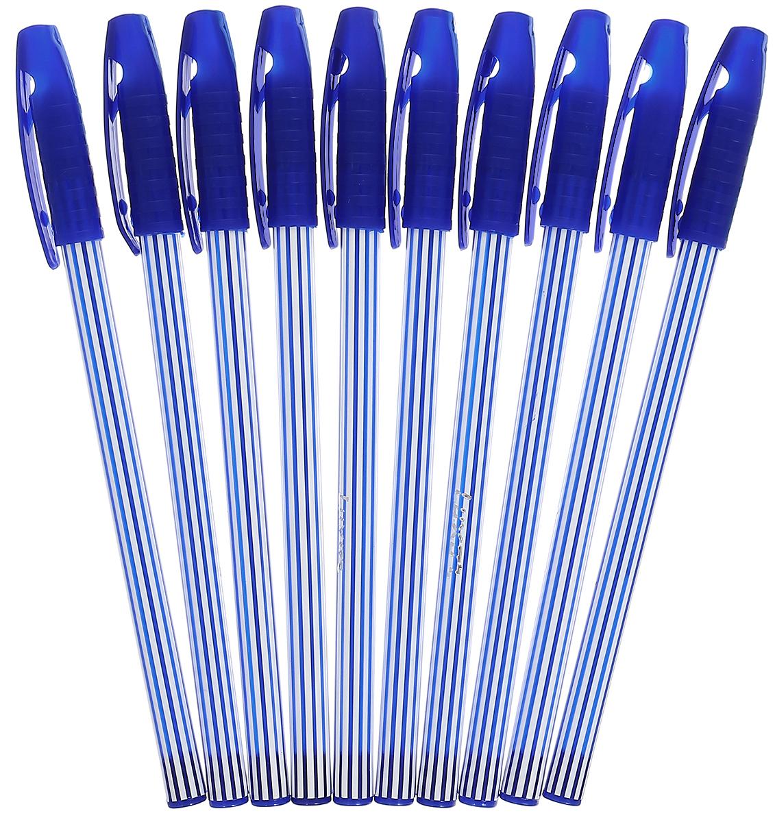Luxor Набор шариковых ручек Stripes цвет чернил синий 10 шт31131/10СНабор шариковых ручек Luxor Stripes станет незаменимым атрибутом в учебе любого школьника и на работе. В наборе 10 шариковых ручек с колпачками, цвет чернил - синий.