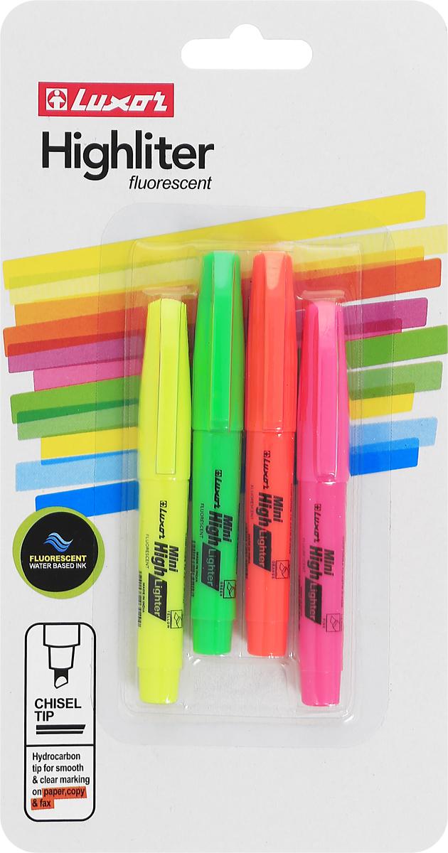 Luxor Набор текстмаркеров Hi-Liters Mini 4 шт4000/4BC/разноцветныеНабор текстмаркеров Luxor Hi-Liters Mini подойдет для выделения текстов на различных видах бумаги, в том числе на бумаге для факсов и копировальных машин, и станет незаменимым атрибутом работы в офисе. В набор входят 4 текстмаркера желтого, зеленого, оранжевого и розового цветов с клипами для переноски. Текстмаркеры имеют скошенный фетр для тонкой и толстой линии подчеркивания.