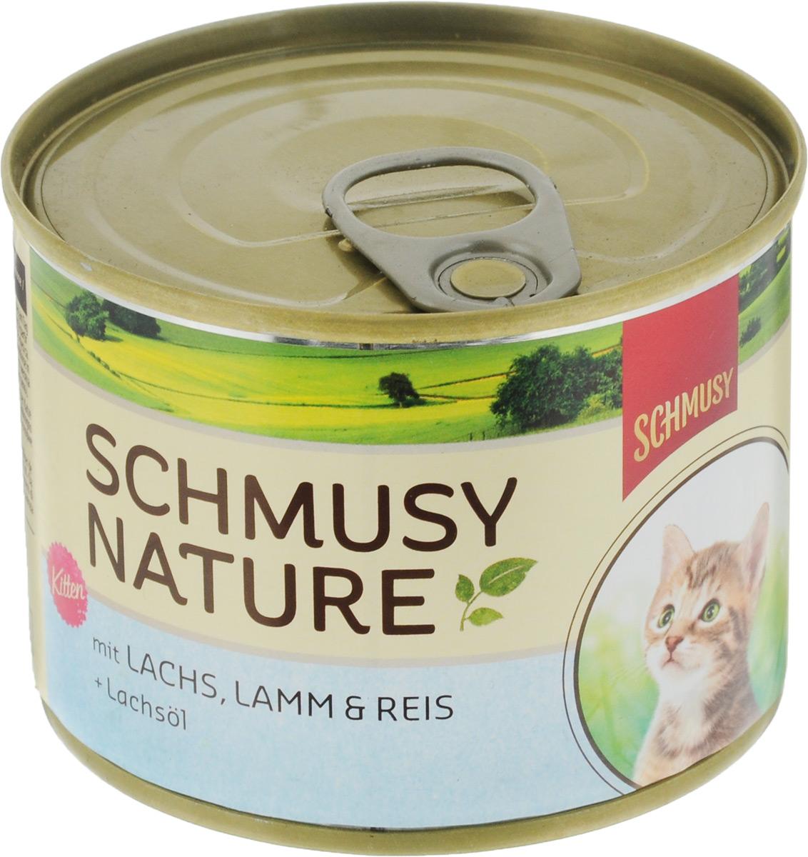 Консервы для котят Schmusy, с лососем и ягненком, 190 г70059Полнорационный корм Schmusy из натуральных ингредиентов, создан в соответствии с потребностями в питании кошек. Содержит кусочки высококачественного, экологически чистого мяса, а вкусные добавки довершают натуральную рецептуру. Вкуснейшее меню обогащено сбалансированной смесью минеральных веществ, витаминов, таурином, а также рыбьим жиром для здорового роста и развития котенка. Щадящая обработка сохраняет максимум полезных веществ. Не содержит сою, красителей, консервантов. Состав: отборное мясо ягненка 20%, лосось 10%, легкое, печень, субпродукты, рис 4%, рыбий жир 0,5%, минеральные вещества. Гарантированный анализ: белое - 11%, жир - 6,5%, клетчатка - 0,3%, зола - 2%, влажность - 78%. Витамины и минералы: витамин E - 89 мг/кг, витамин B1 -24 мг/кг, витамин B6 - 6 мг/кг, фолиевая кислота - 1,5 мг/кг, витамин D3 - 180 ед/кг, таурин - 590 мг/кг. Товар сертифицирован.